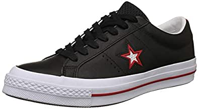 Converse Unisex's Black Red/White Leather Sneakers-10 UK/India (44 EU) (8907788081301)