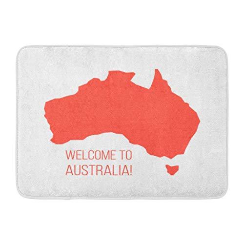 LIS HOME Badteppich Red Silhouette Australien Inschrift Welcome World Tour Internationaler Tourismus Reisende White Bathroom Decor Rug