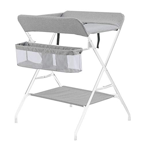 Baby Diaper Table with Storage Basket Foldable Baby Changing Tables Portable Unit Health Baby Care Gray Sugar-Bai