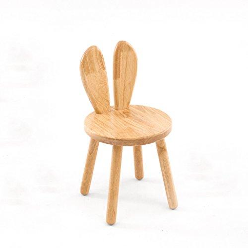 Zähler Höhe Tisch Hocker (CKH Kleine Bank Cartoon Holzbank Kreative Baby Stuhl Kinder Lernen Stuhl Zurück Hasenohren Hocker (Color : B))