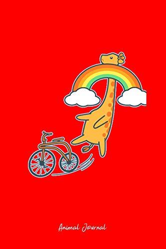 Animal Journal: Dot Grid Journal - Giraffe Neck Rainbow Bike Cute Bicycle Animal Safari Gift - Red Dotted Diary, Planner, Gratitude, Writing, Travel, Goal, Bullet Notebook - 6x9 120 page (Bike Neck)