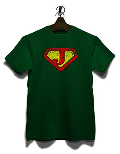 J Buchstabe Logo Vintage T-Shirt Dunkel Grün