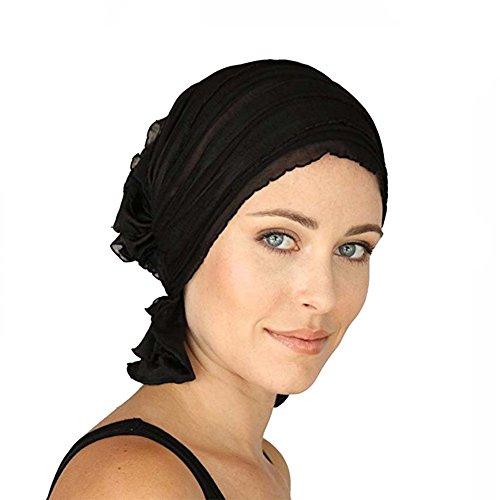 ZYCC Cáncer Cabeza de Chemo Bufanda Sombrero Gorro Étnico Tela Imprimir Turbante Sombreros Mujeres Ruffle Bufanda Bufanda Musulmana Pañuelo (Negro)