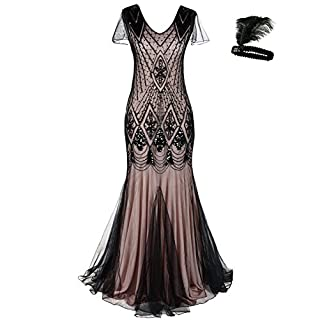 Damen Frauen 1920s 20er Cocktail Maxi Lange Gatsby Abend Kleid meerjungfrau  formelle Gewand Dress (Black 3c65700b0a