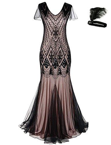 (Damen Frauen 1920s 20er Cocktail Maxi Lange Gatsby Abend Kleid meerjungfrau Formelle Gewand Dress (Black/pink, XL))