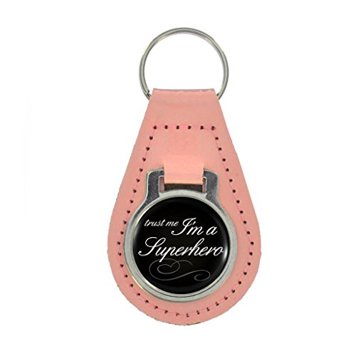 Trust Me I'm A Superhero Design Keyring Gift Boxed - COLOURED LEATHER
