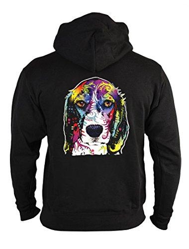 rohuf Design Neon Zip-Hoodie - Bunter Hund - Super Beagle - Kapuzensweater Reißverschluss als Geschenk Idee Aufdruck Sweatshirt, Größe:M -