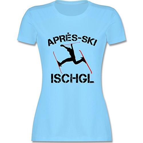 Après Ski - Apres Ski Ischgl - tailliertes Premium T-Shirt mit Rundhalsausschnitt für Damen Hellblau