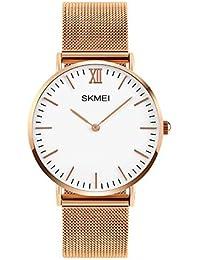 Moda Simple Ultra Delgado Dos Punteros Fácil de leer Correa de malla de aleación Relojes de pulsera para hombres mujeres, Oro rosa-mujeres grande