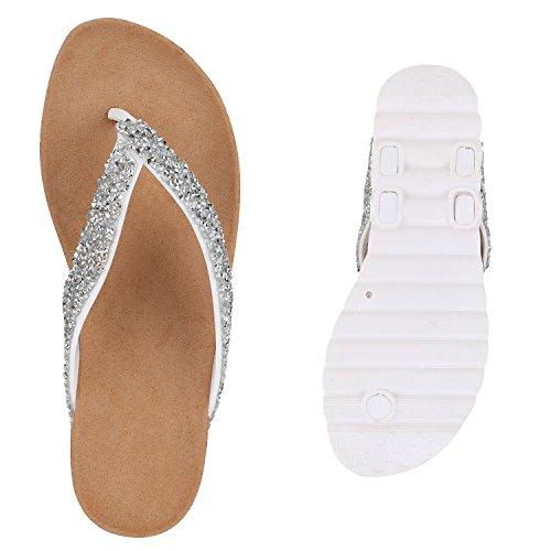 Bequeme Damen Sandalen | Zehentrenner Glitzer Metallic | Komfort-Sandalen Kork | Bequemschuhe | Strandschuhe Schnallen Weiss Silber