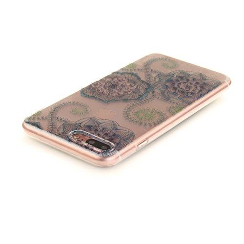 Felfy Coque pour iPhone 7 Plus,iPhone 7 Plus Case,iPhone 7 Plus Ultra Slim TPU Case Housse Silicone Souple Etui Gel Fine Couverture Arrière Anti Poussières Couvercle Anti Rayures Motif Transparent Cas Bleu et Fleurs Vertes