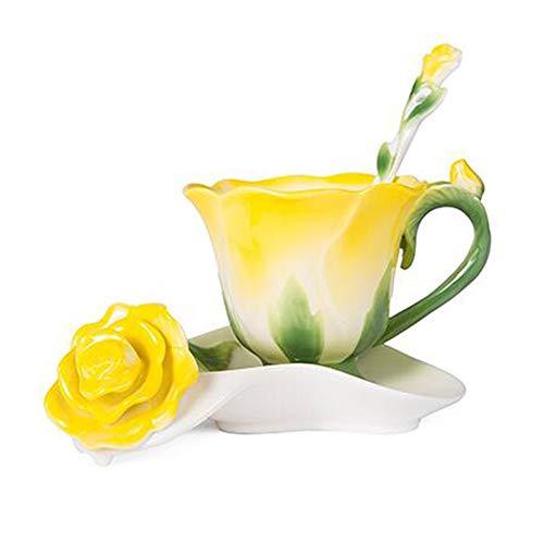 Daxinyang migliore forma 3d rosa del fiore dello smalto in ceramica tazza di caffè tè e piattino cucchiaio di alta qualità in tazza di porcellana creativo regalo di san valentino design,giallo