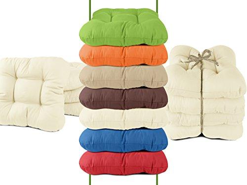 4er-Pack Stuhlkissen - bequeme und universal verwendbar in dezentem Design - Balkon + Garten + Terrasse + Esszimmer - erhältlich in 7 trendigen Uni-Farben, natur