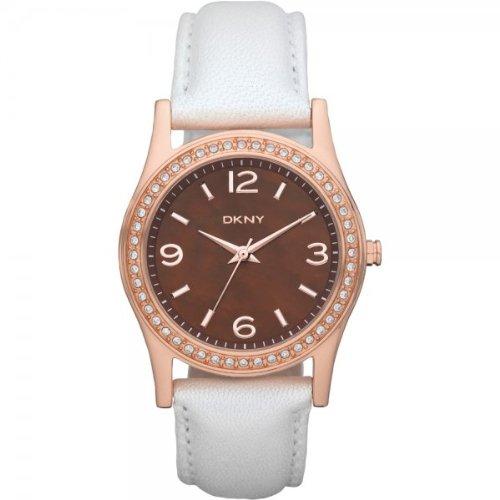 DKNY Ladies Stone Set White Leather Strap Watch NY8480