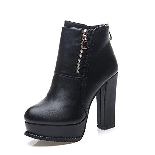 GTVERNH-Autunno E Inverno Plus Martin In Velluto Stivali Di Spessore Con Impermeabile Taiwan Denso Con Tacco Alto Stivali E Scarpe. Black