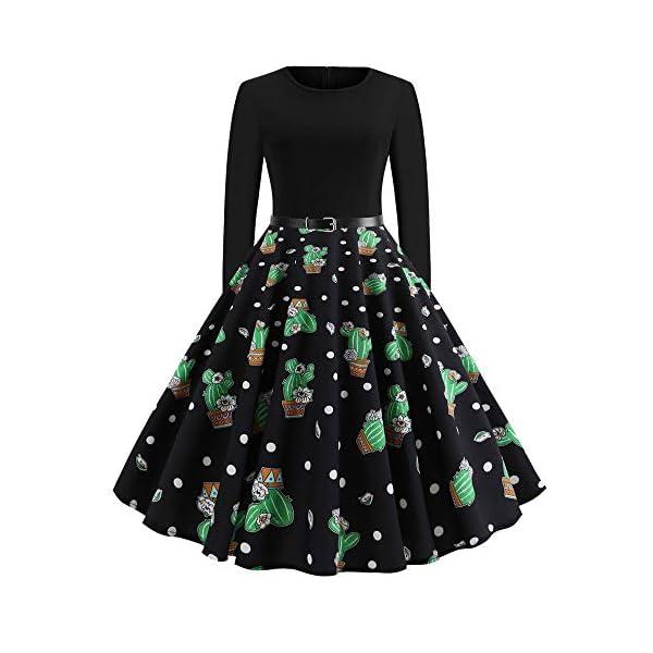 Gusspower Damen Weihnachten Kleid Vintage Gürtel Langarm Rundhals 3D Kaktus Drucken Rockabilly Dress A-Line Party Swing Falten Neuheit Grün Kleider