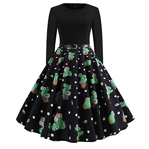 Wolf Rockabilly Kostüm - Dorical Kleider Damen Rockabilly Kleider Vintage Weihnachten Print Langarm Karneval Kostüm Festlich Cocktailkleider Abendkleider Club Party Clubbing Ballkleid Druck Abend Party Dress(Grün,Medium)