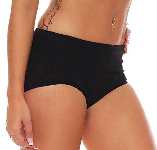 3er Pack Damen Slips ohne Seitennähte (Schlüpfer, Unterhose) Nr. 409 Schwarz
