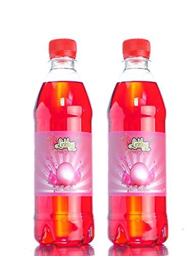 Doppelpackung mit 500 ml rosa Bubblegum-Slush-Sirup in verschiedenen Geschmacksrichtungen für Slush Maker, Crushed-Ice, Partys, wie Slush Puppy, SLURPEE, ICEE-Drinks...
