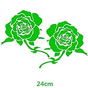 HANO CarFlowers Schöne rote Rose Kreative Abziehbilder Cyter Auto Tuning Styling Wasserdicht 15 * 14cm & amp; 24 * 23cm Duad D11: 24x23 Grün