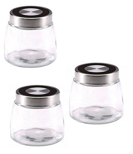 Vorratsgläser Set 3 tlg Glasbehälter-Set Frischhaltedose Rumtopf Weckgläser (Behälter-Set, 3 Vorratsdosen im Set, Gewürzgläser, 1 Liter Fassungsvermögen, Stahl-Deckel)