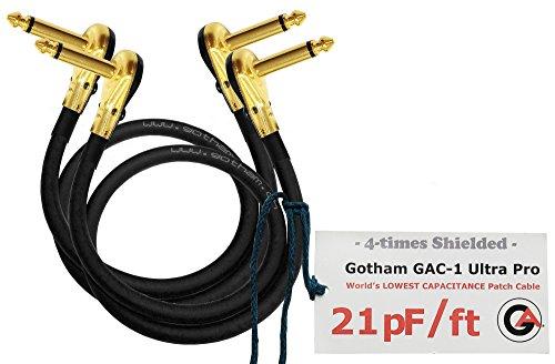 2las unidades–Gotham GAC-1Ultra Pro–30Inch (76cm)–Low-cap (21pf/FT) guitarra baja instrumento de efectos, Cable de conexión con chapado en oro, de bajo perfil, en ángulo recto panqueque tipo conectores TS (6,35mm)