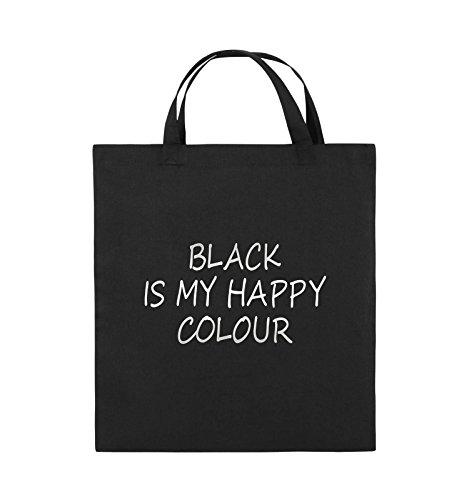 Henkel 38x42cm COLOUR Jutebeutel Schwarz Bags IS Silber Farbe Schwarz BLACK kurze Comedy MY HAPPY Pink Tq8XCx