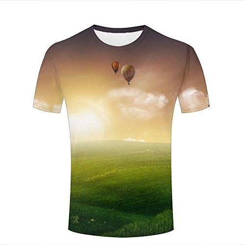 Men Women Unisex 3D Tshirts Sunshine Grassland Dreamlike Clouds Summer Casual Tees