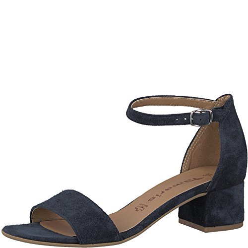 Tamaris 1-1-28394-20 Damen Sandale, Sandalette, Sommerschuhe für die modebewusste Frau blau (Navy Suede), EU 41
