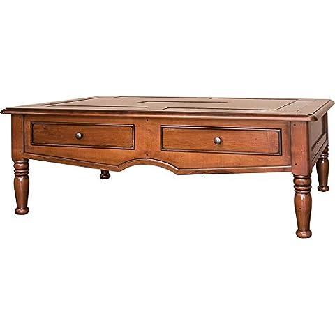 Tavolino rettangolare ciliegio massiccio e marmo piedi tournés