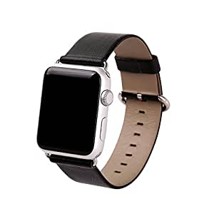 Apple Watch Band, eLander Top-grain Leather Band Strap with Stainless Metal Clasp for Apple Watch All Models 42mm (Leather - Black)