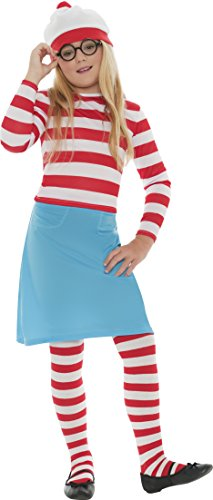 Where's Wally? Official Wenda Costume for Girls. This is a complete, officially licensed  Wenda outfit for infants and girls and includes the bobble hat, stripy top, blue skirt, round glasses and stripy tights. Three sizes