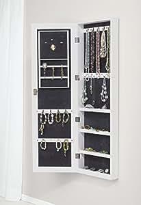 schmuckschrank mit spiegel zum h ngen abschlie bar wei k che haushalt. Black Bedroom Furniture Sets. Home Design Ideas