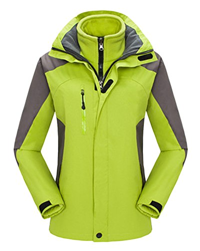 Paare Kleidung Herren Damen Wasserdicht Atmungsaktiv Funktionsjacke Bergsteigen warm Outdoor Jacke mit Abnehmbare Kapuze FruchtGrün Damen...