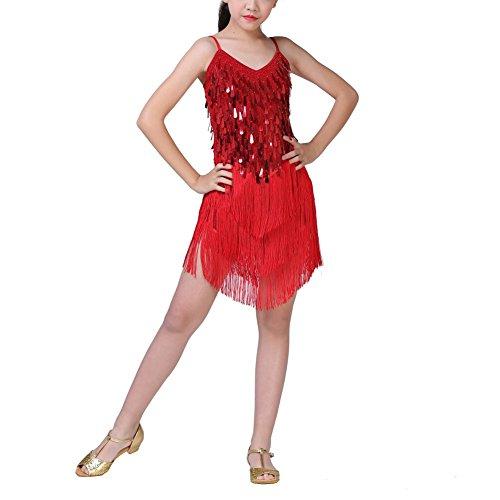 Tanz Tango Kostüm - ESHOO Mädchen Latein Tanzkleid, Kinder Latin Rumba Salsa Tango Quaste Kleid Tanz Kostüm