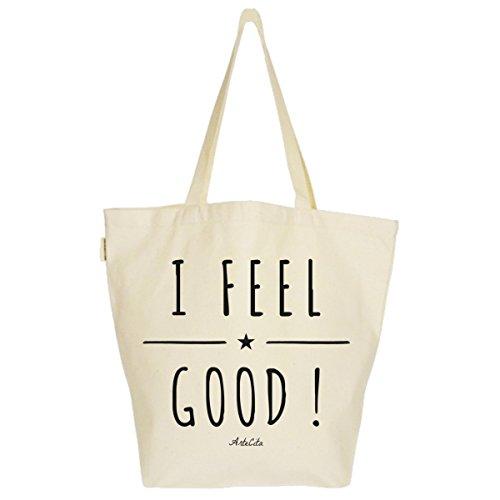 Grand Sac Cabas Fourre-tout Imprimé Toile Bio 37x45x20cm Tote Bag XL - I Feel Good