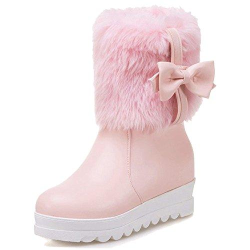 Minetom Damen Mädchen Niedlich Winter Warm Halten Plüsch Kurzschaft Stiefel Mode Bowknot Kurz Stiefeletten Flache Schuhe Ankle Boots Rosa EU 42 (Mode-designer-flache Schuhe)