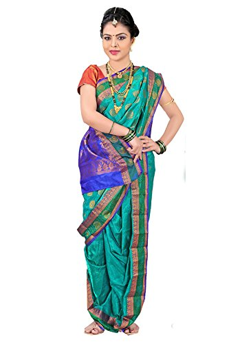 Bhartiya Vastra Bhandar Women's Ready To Wear Nauvari Saree(DNoA9_RamaGreen_Green_FreeSize)
