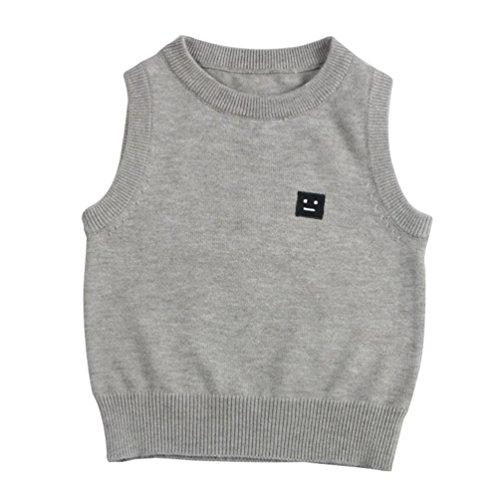 CHENGYANG Baby Ärmelloser Pullover Weste Oberbekleidung Baby Kleinkind Jungen Mädchen Sweatshirt Grau Asia 90