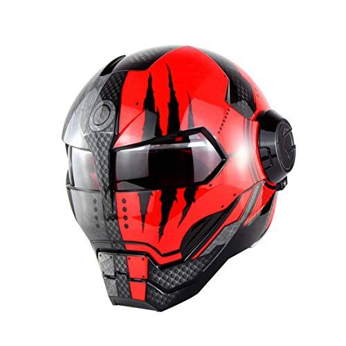 TLPSB D.O.T Zertifizierter Motorradhelm Motocross Vollgesicht Casco Moto Klappoffener Maskenhelm, Iron Man Transformers - M, L, XL Schwarz Rot,M (Einfach Transformer Kostüm)