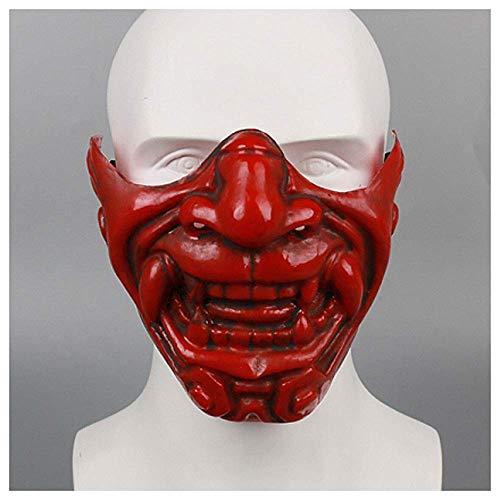 YaPin Japanische Kabuki Teufel Halbe Gesichtsmaske Yin Yang Meister Prajna Maske Halloween Teufel LAN Ling Wang Cos