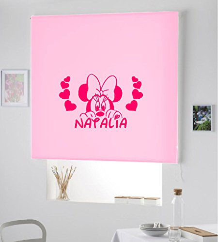Desconocido Estor Infantil Enrollable TRANSLUCIDO Dibujo Minnie N.con Nombre. ESTORES Infantiles con Nombre Minnie Natalia (Rosa Palo Claro, 100X175)