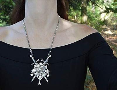 Collier épée et bouclier blason médiéval - pendentif gothique - le Guerrier du Royaume des fées - bijoux elfique wicca magique