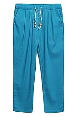 Fulok Mens Comfy Linen Elastic Waist Ankle Length Beach Pants XX-Large Blue Peacock