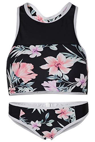 La-V Junge Damen, Zweiteilige Bikini Rosa Floral Print BD40/Größe XS -