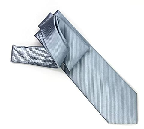 100% pure silk woven neckties SOLID RIB (5blue light)