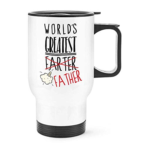 Moiq-A World's Greatest Farter Father Travel Becher Cup With Handle Funny Dad Day