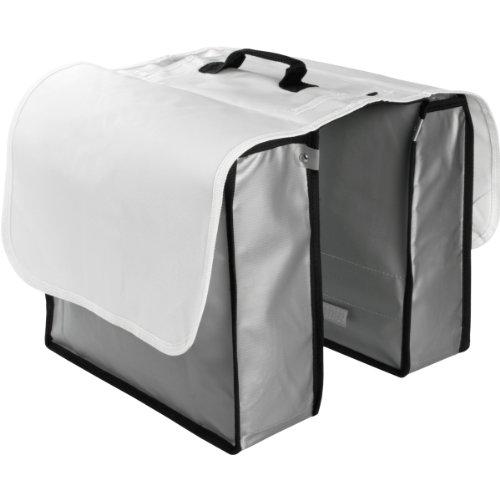 Fahrrad Gepäckträgertasche / Fahrradtasche aus Tarpaulin Lkw-Plane (Weiß / Silber)