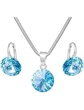 LillyMarie Silber Schmuck-Set, Sterling-Silber 925, Original Swarovski Elements, blau, 12 mm, mit Schmuck-Etui...