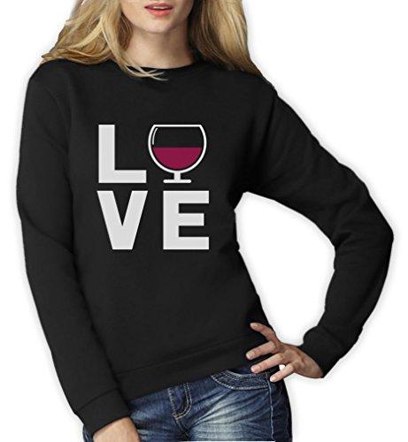 s Love Wine - Geschenkidee Pullover für Wein - Fans Frauen Sweatshirt Medium Schwarz ()